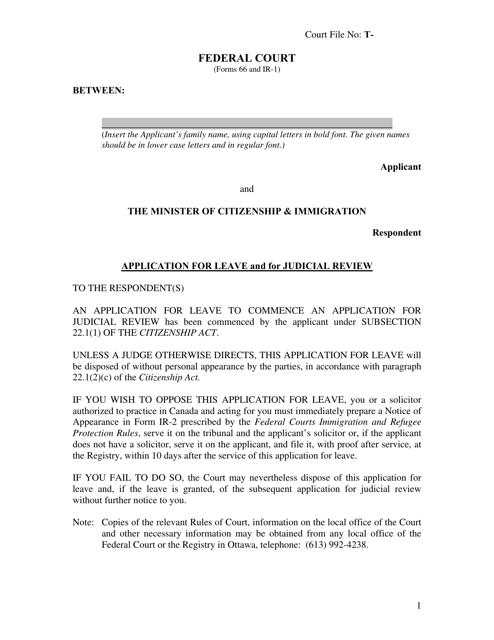 Form 66 (IR-1) Printable Pdf