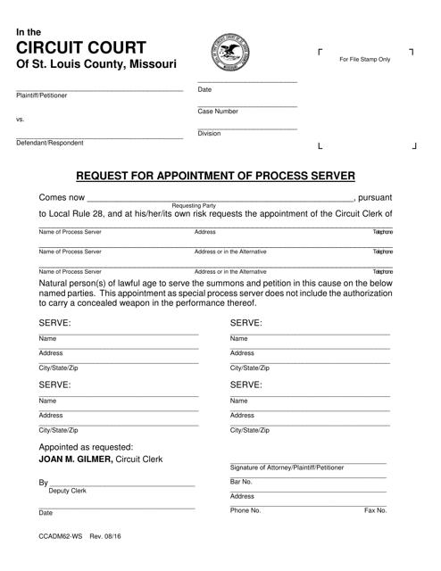 Form CCADM62-WS  Printable Pdf