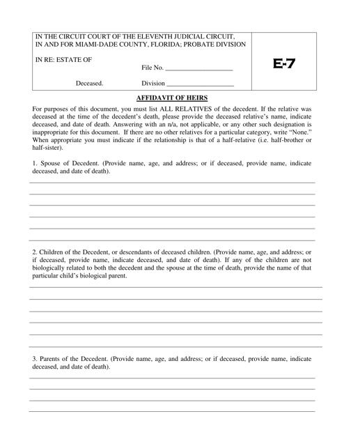 Form E-7  Printable Pdf