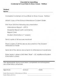 Checklist for Submitting Contempt of Court/Rule to Show Cause - Petition (School District of Colleton County) - County of Colleton, South Carolina
