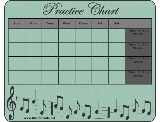 """Musical Instrument Practice Chart Template"" Download Pdf"