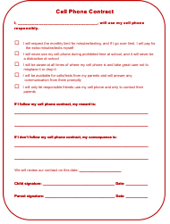 """Cell Phone Contract Template for Kids"""