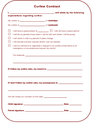 """Curfew Contract Template for Kids"""