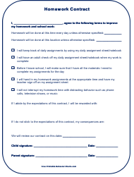 Homework Contract Template for Kids