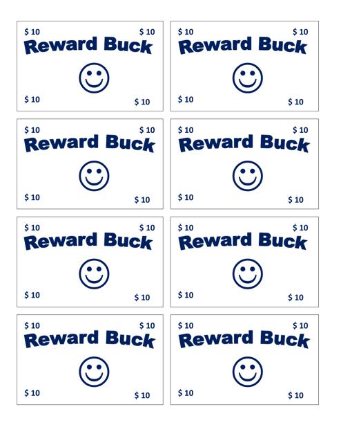 """Ten Reward Buck Template"" Download Pdf"