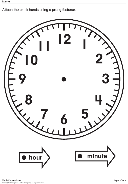 Paper Clock Template With Hands Download Printable PDF ...