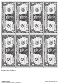 """One Dollar Bill Templates, Dollar Equivalents Chart - One Dollar Bills and Cents"""