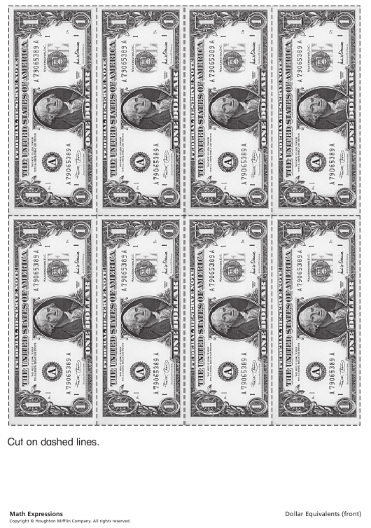 """""""One Dollar Bill Templates, Dollar Equivalents Chart - One Dollar Bills and Cents"""" Download Pdf"""