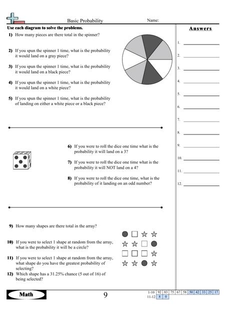 basic probability worksheet with answer key download printable pdf templateroller. Black Bedroom Furniture Sets. Home Design Ideas