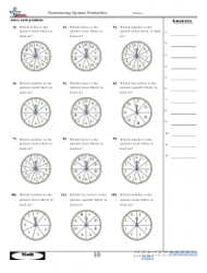 Determining Spinner Probability Worksheet With Answer Key