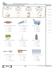 Estimating Capacity (american) Worksheet With Answer Key