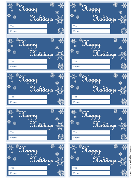 """Happy Holidays Gift Tag Templates"" Download Pdf"