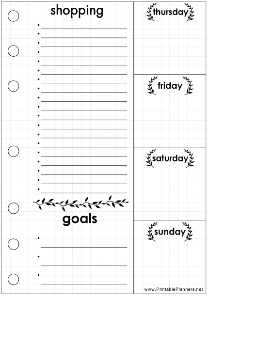 """""""Thursday-Sunday Shopping List Template"""" Download Pdf"""