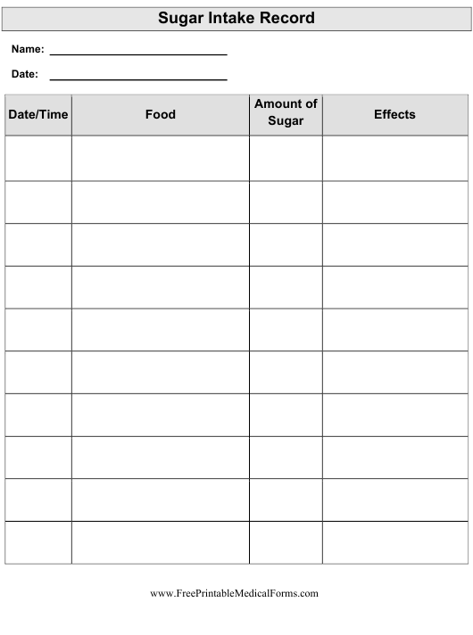 """Sugar Intake Record Template"" Download Pdf"