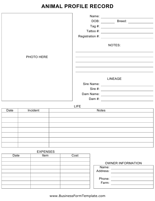 """Animal Profile Record Form"" Download Pdf"