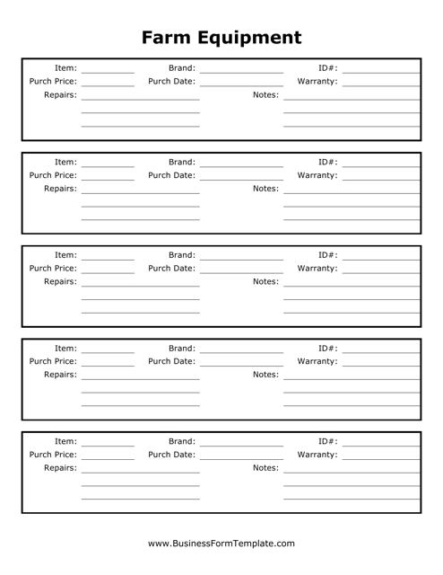 """Farm Equipment Tracking Sheet Template"" Download Pdf"