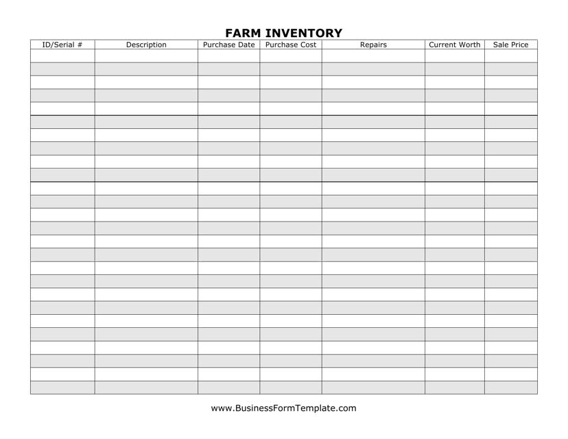 """Farm Inventory Speadsheet"" Download Pdf"