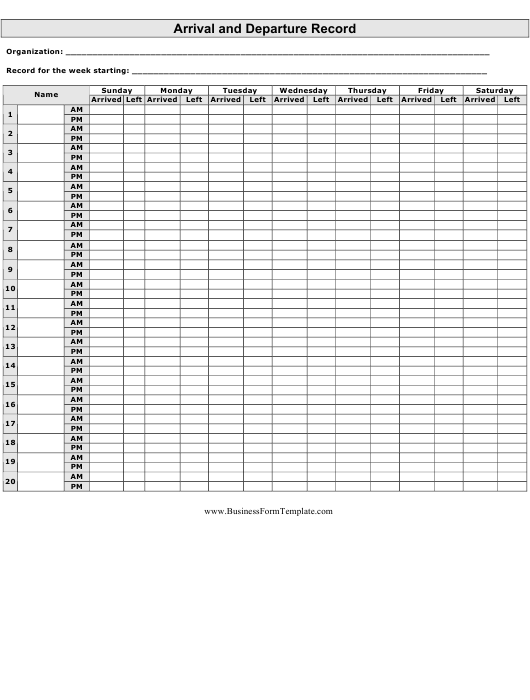 """""""Arrival and Departure Record Spreadsheet Template"""" Download Pdf"""