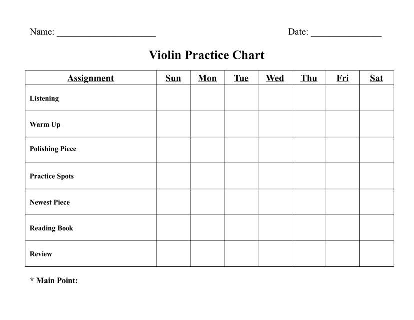 """Violin Practice Chart Template"" Download Pdf"