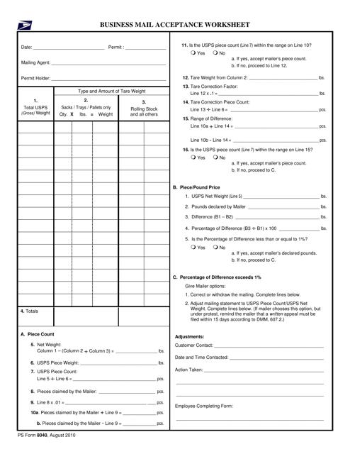 PS Form 8040  Printable Pdf