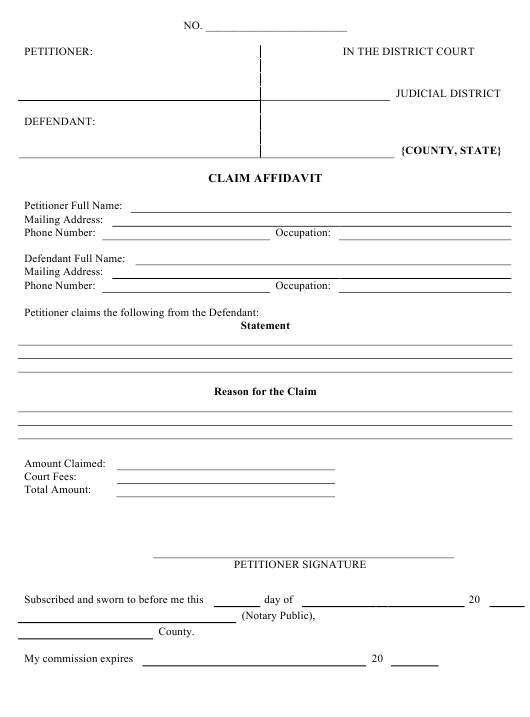 Small Claims Affidavit Template Download Pdf