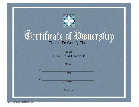 Certificate Of Ownership Template Download Printable PDF ...