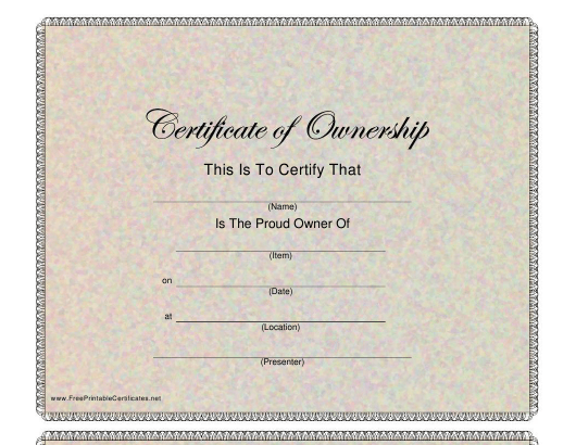 """Certificate of Ownership Template"" Download Pdf"