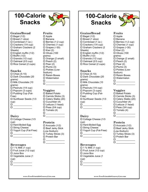 """100-calorie Snacks List Template"" Download Pdf"