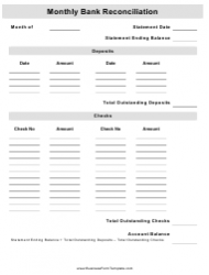 Monthly Bank Reconciliation Form