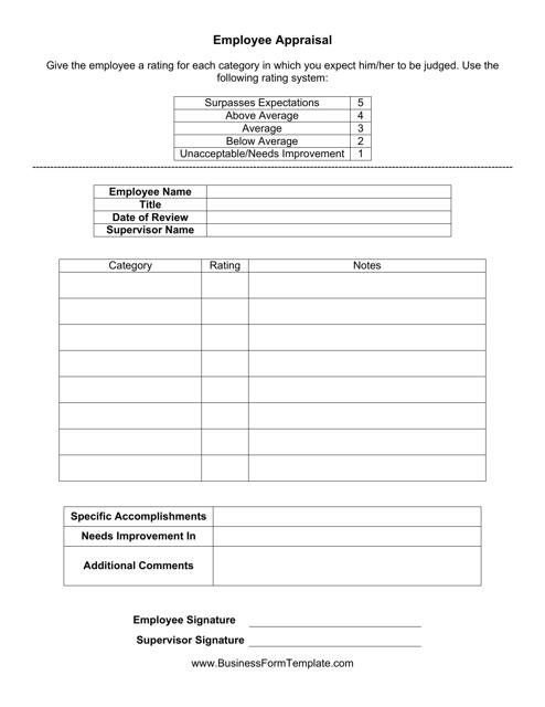 """Employee Appraisal Form"" Download Pdf"