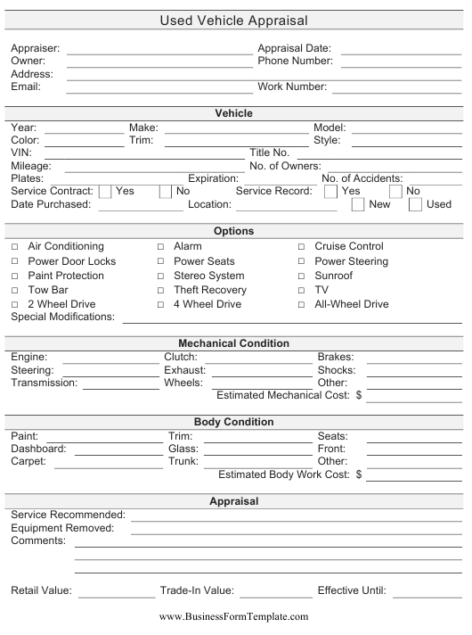 """""""Used Vehicle Appraisal Form"""" Download Pdf"""