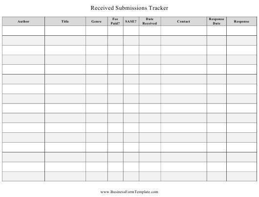 """Received Submissions Tracking Spreadsheet Template"" Download Pdf"