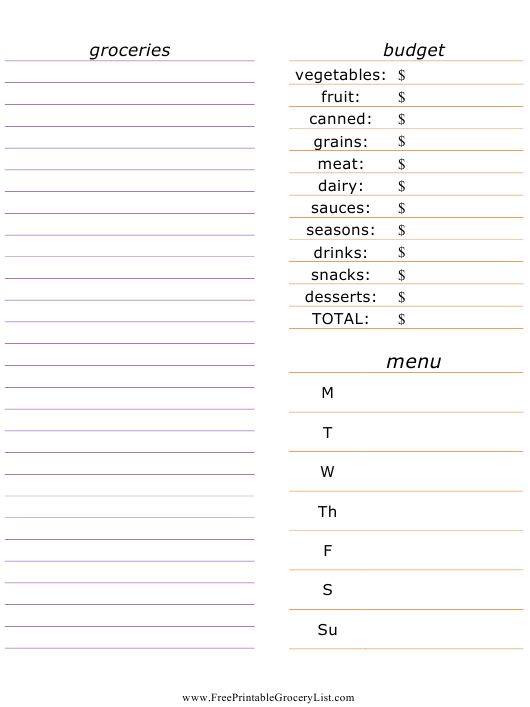 Grocery List Template Download Pdf