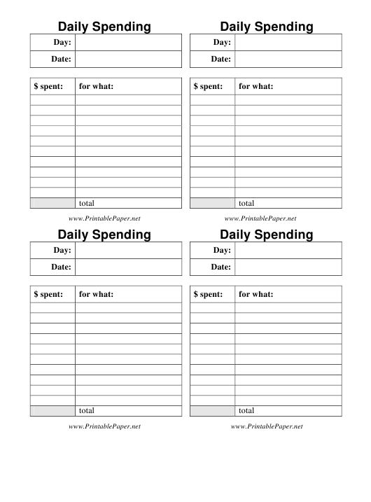 """""""Daily Spending Template"""" Download Pdf"""