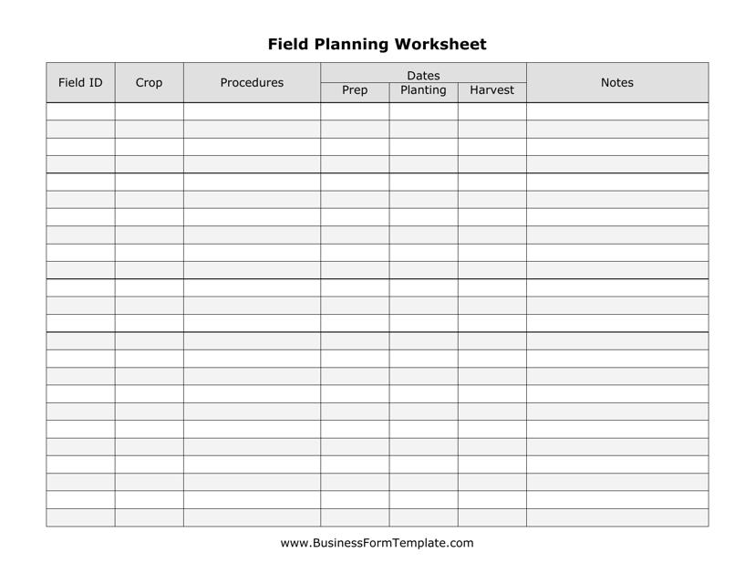 """Field Planning Worksheet Template"" Download Pdf"