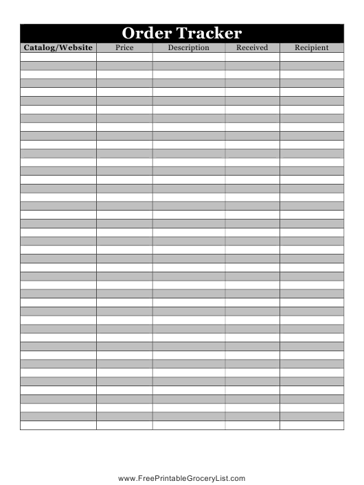 """Order Tracker Spreadsheet Template"" Download Pdf"