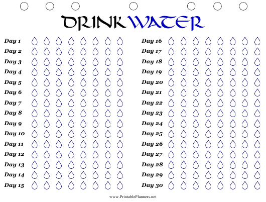 """""""Monthly Water Drinking Tracker Template"""" Download Pdf"""