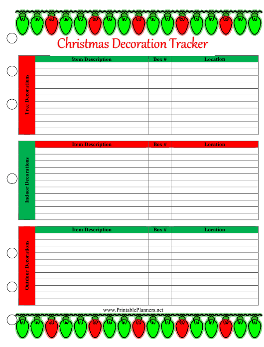 """""""Christmas Decoration Tracking Spreadsheet Template"""" Download Pdf"""