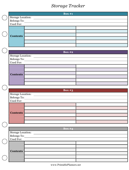 """""""Multicolor Storage Tracking Template"""" Download Pdf"""