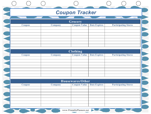 """Blue Coupon Tracking Template"" Download Pdf"