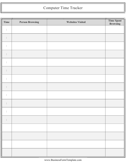 """Computer Time Tracking Spreadsheet Template"" Download Pdf"