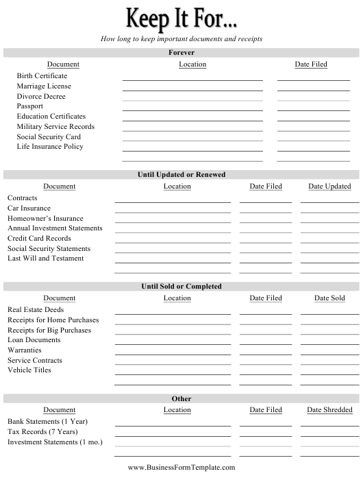 """""""Document Inventory Template"""" Download Pdf"""