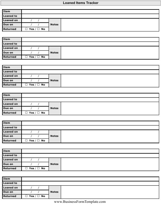 """Loaned Items Tracking Template"" Download Pdf"