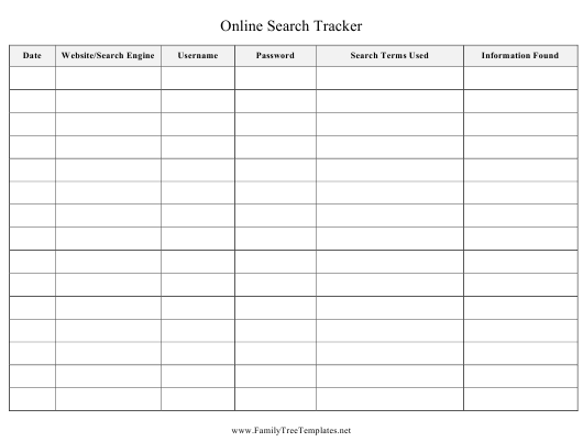 """""""Online Search Tracking Spreadsheet Template"""" Download Pdf"""