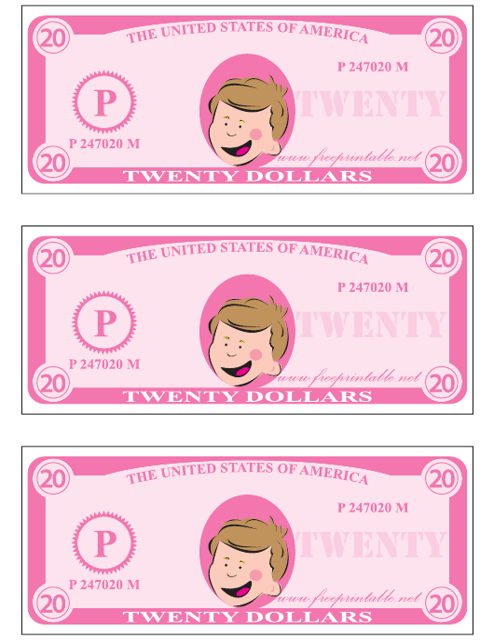 """Twenty Play Dollar Template - Pink"" Download Pdf"