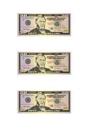 """50 Dollar Bill Play Money Template"""