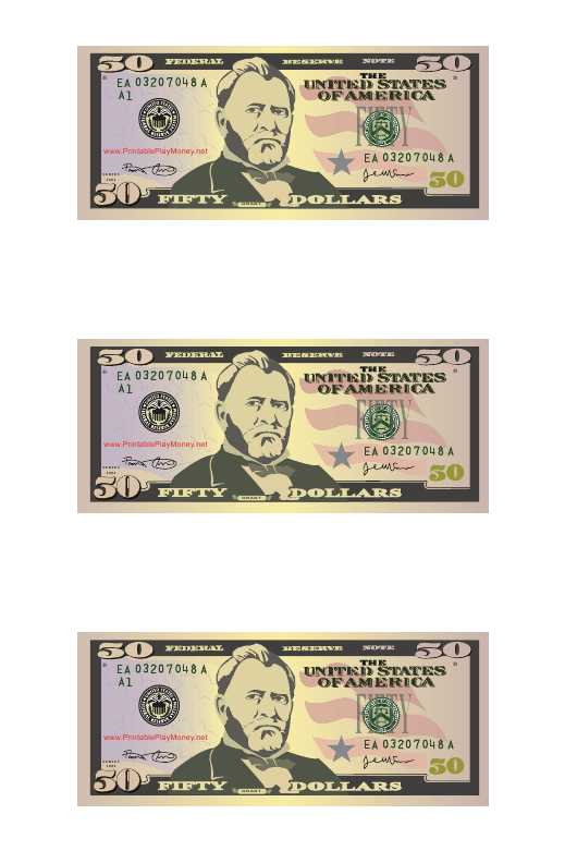 """50 Dollar Bill Play Money Template"" Download Pdf"