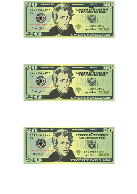 """""""20 Dollar Bill Templates"""" Download Pdf"""