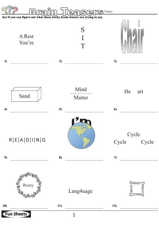 Brain Teasers Logic Puzzle Template With Answer Key Page 2 Download Pdf