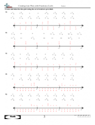 Creating Line Plots With Fractions (2,4,8) Worksheet With Answers